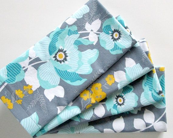 Cloth Napkins  Set of 4  Orange Teal Blue White Floral