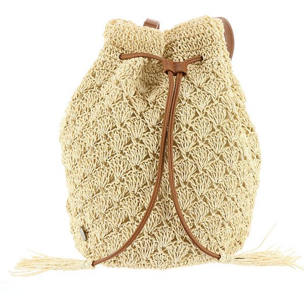 Billabong Bikini Beached Backpack Tan Bags (£42) ❤ liked on Polyvore featuring bags, backpacks, tan, beach backpack, beige backpack, tan backpack, crochet beach bag and beach bag