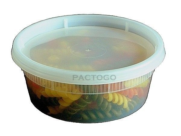 8 oz. DELItainer Plastic Freezer Food Storage Deli Soup Containers Tubs w/Lids #Pactiv