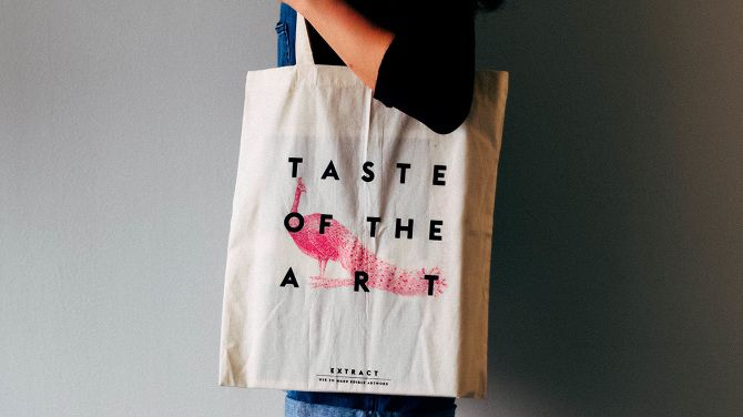 Screen printed tote bag with edible EXTRACT ink by Effie Koukia