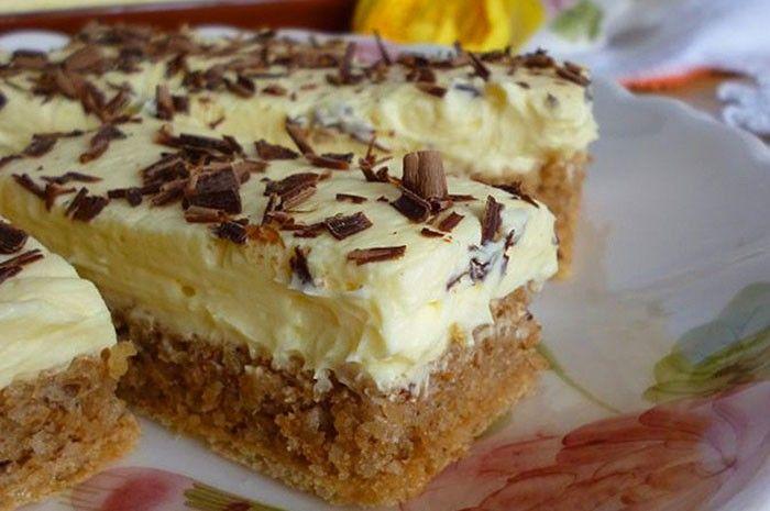 Jednoduché ořechové řezy na oplatce s vanilkovým krémem