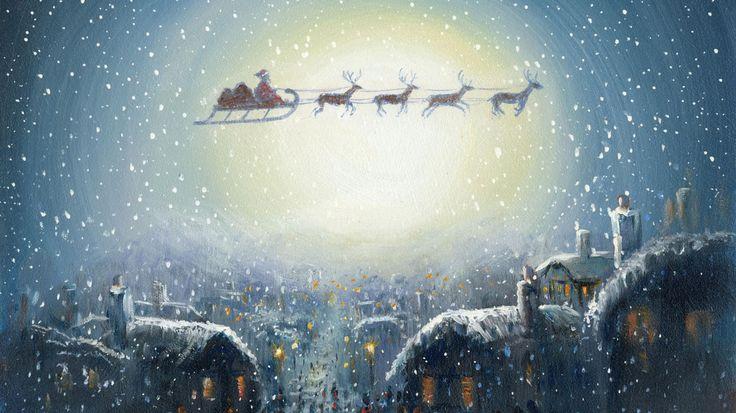 Скачать обои сочельник, дед мороз, сани, домики, праздник, снег, подарки, картинка, рождество, упряжка, город, окна, огни, олени, спешит, раздел новый год в разрешении 1366x768