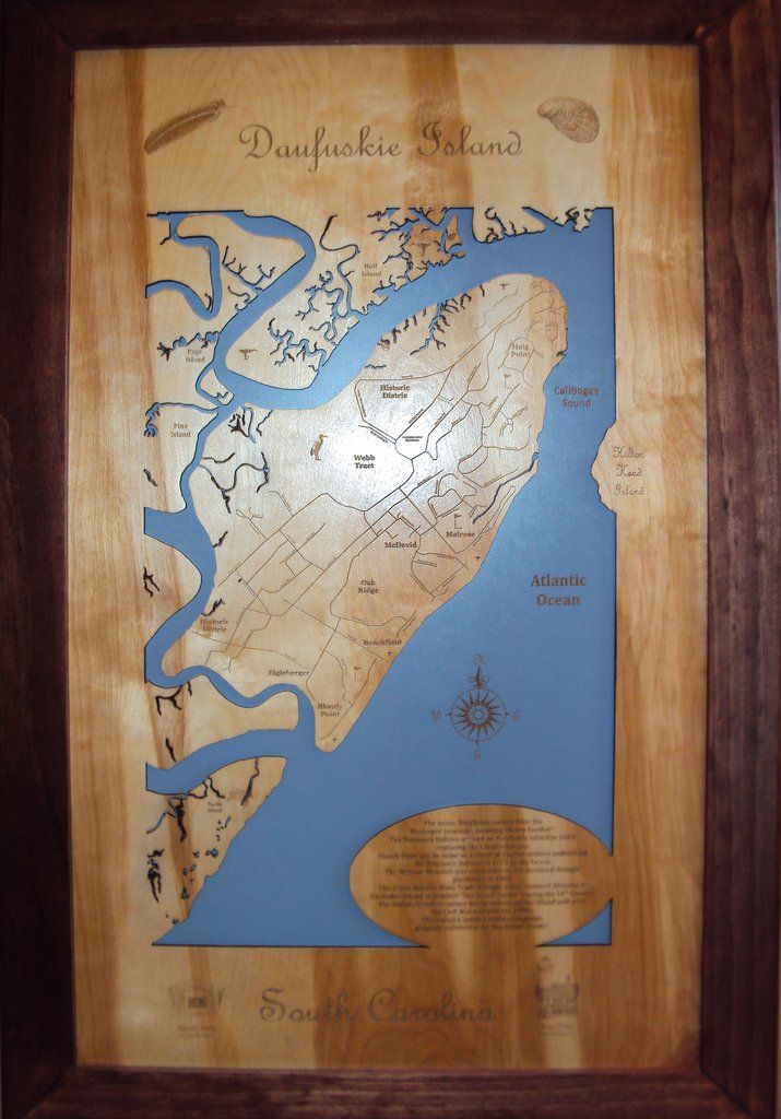 Maryland Map Coordinates%0A Daufuskie Island  South Carolina  Wood Laser Cut Map