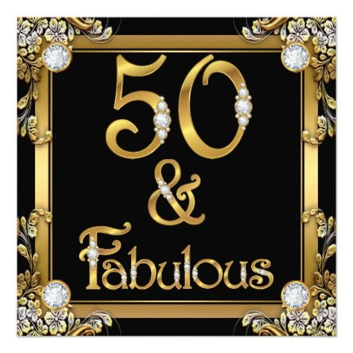 Golden Fabulous 50 Birthday Gold Diamond Card