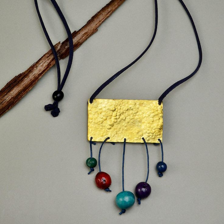 Long navy blue adjustable necklace with hammered rectangle and multicolor acai beads,multicolor tagua nut adjustable necklace,gold rectangle by ColorLatinoJewelry on Etsy