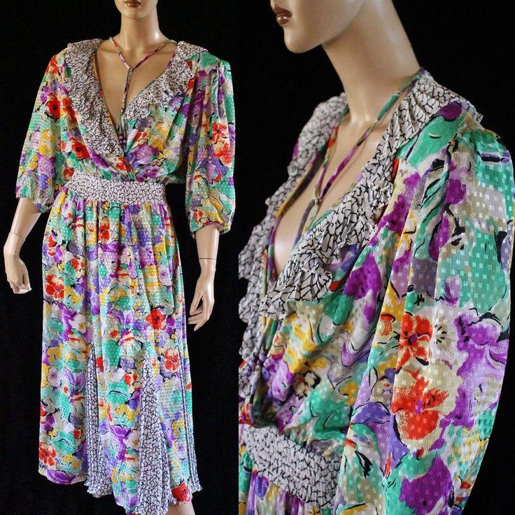 Vtg 80s Susan Freis Plunging V Floral Godet Ruffles Boho Chic Gypsy Dress  #AssortibySusanFreis #Blouson #Party