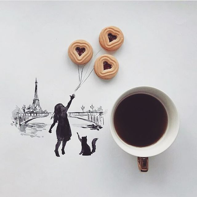 Юбилеем лет, открытки с кофе и девушкой