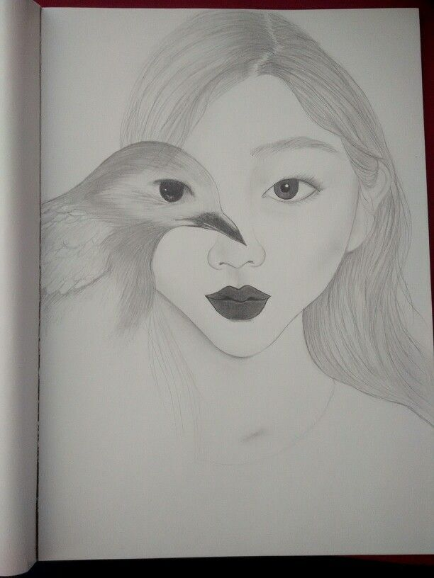 #woman #bird #drawingpencil