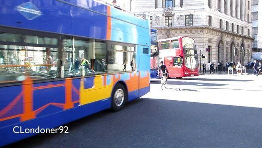 London Buses outside Bank Station, City of London  Filmed on 19th April 2016