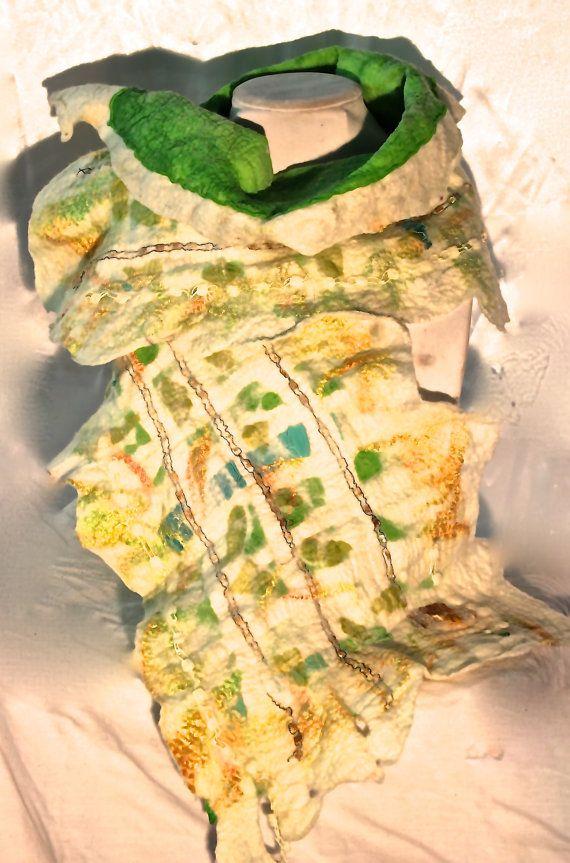 Nuno Felted Silk Shawl.  Shamrock Green Nuno by MindfulPresents