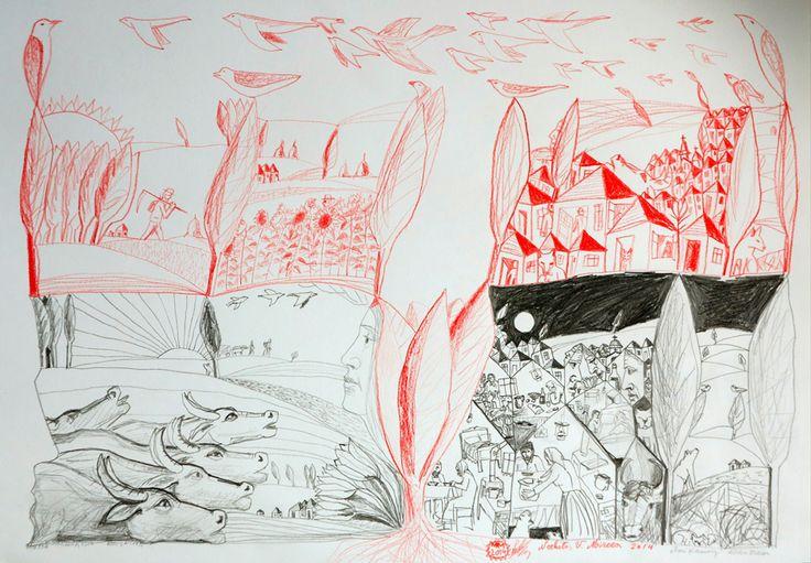 zori si asfintit.desen.creion negru si rosu