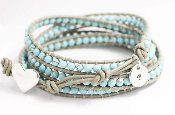 Leather wrap bracelet  turquoise beads  personalized tag  sterling silver button