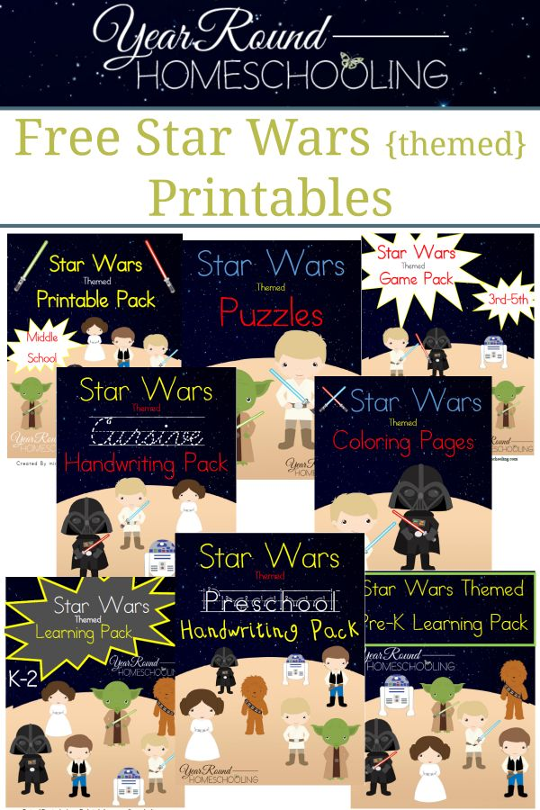 Free Star Wars Printables Homeschool, Kindergarten and