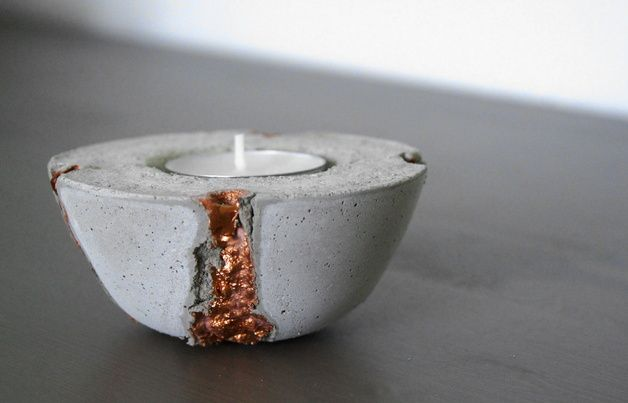 """Ornaments – Candle-holder """"Morla Stripes"""", copper... – a unique product by ArynsWelt on DaWanda"""