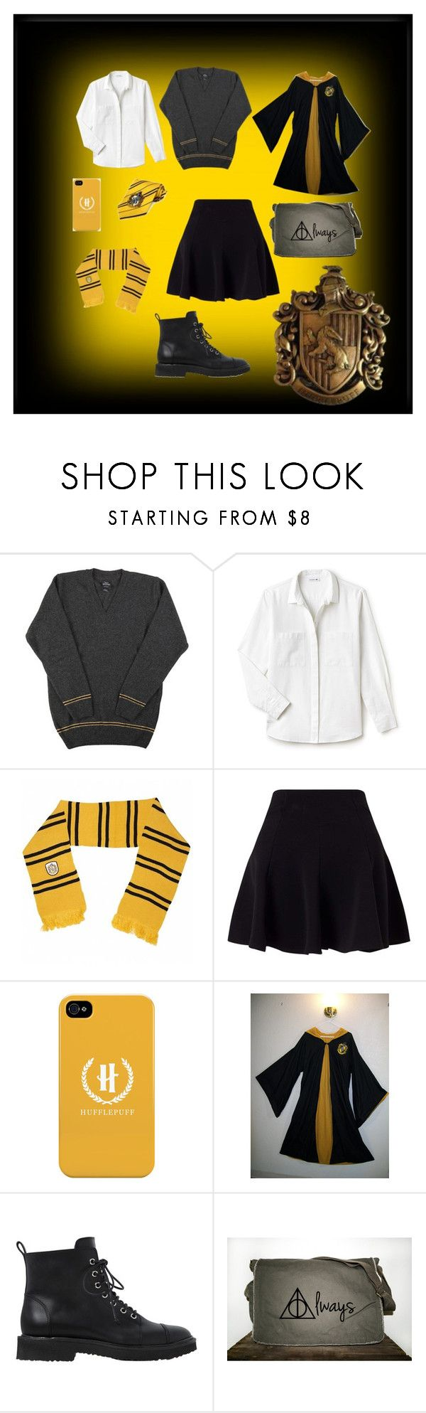 """""""Hufflepuff student"""" by hermine-fragonn ❤ liked on Polyvore featuring Lacoste, Miss Selfridge and Giuseppe Zanotti"""