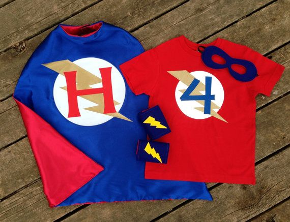 Personalized Superhero Cape, T-Shirt, Mask and Power Cuffs-Ultimate Custom Super Hero Set with Reversible Cape, Mask, T-Shirt and Cuffs on Etsy, $59.00