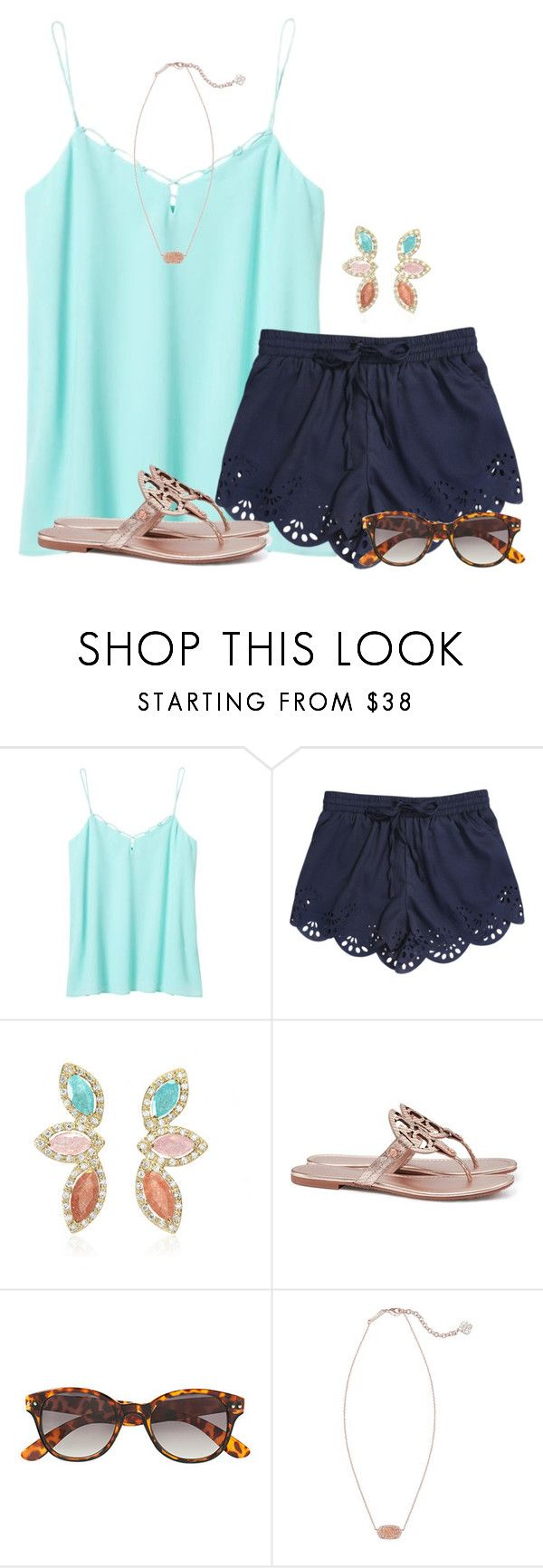 """Light colors:)"" by flroasburn ❤ liked on Polyvore featuring Banana Republic, Tory Burch, H&M and Kendra Scott"