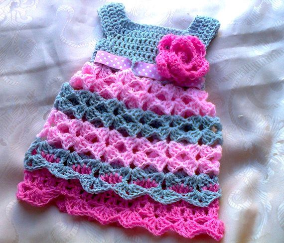 Pink Gray Baby dress  Newborn Outfit Shower gift by paintcrochet, $35.00