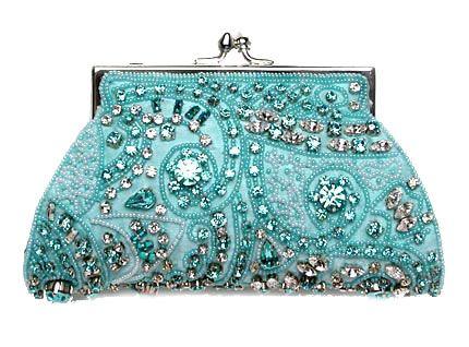 Moyna Swarovski Crystal Beaded #Turquoise Evening #Bag... gorgeous detailing!