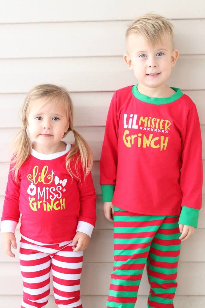 a1394e62b7 EXCLUSIVE    Little Miss Grinch Girls Red and White Stripe Holiday GRINCH Christmas  Pyjamas