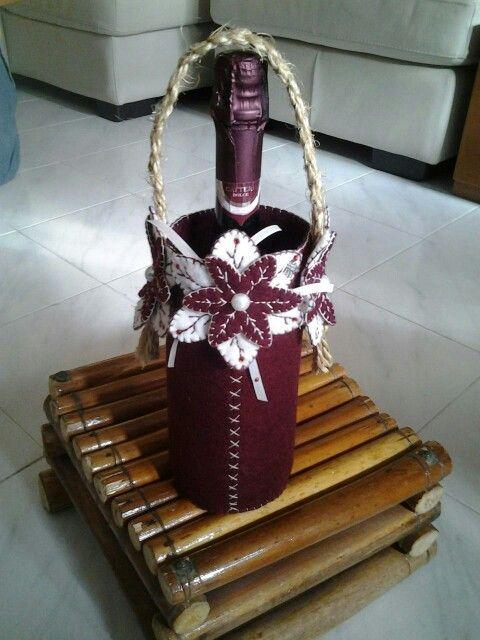 Porta bottiglia feltro bordeaux