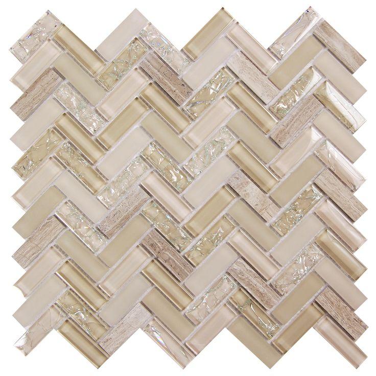 Feb 22, 2020 - Archery Light Beige Herringbone Mosaic Glass Tile