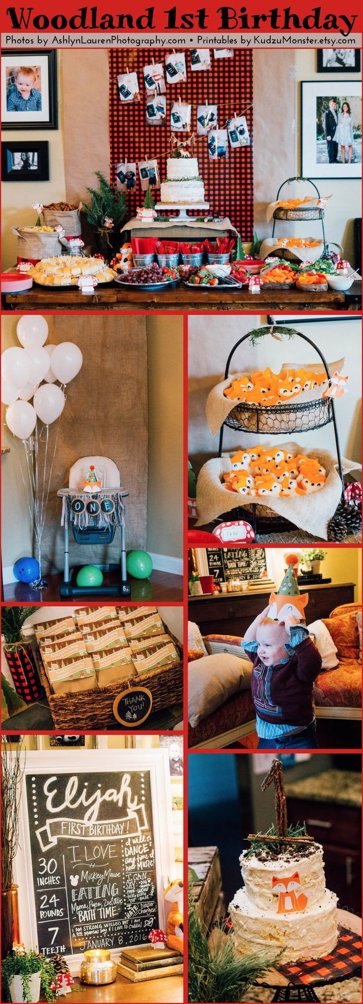 Adorable 1st birthday party with woodland fox lumberjack theme .  Party Decor Printable from this party are available at www.KudzuMonster.etsy.com  and the beautiful photos are by www.ashlynlaurenphotography.com