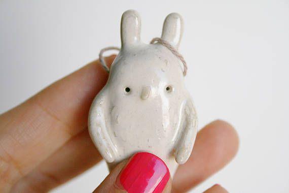 Handmade Jewelry. Ceramic Pendant. Bunny Pendant. Bunny