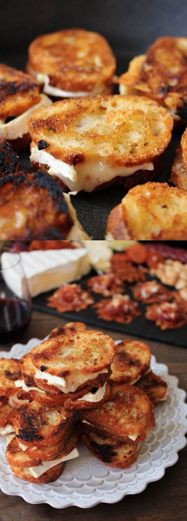 Brie and Candied Bacon Grilled Cheese Bites