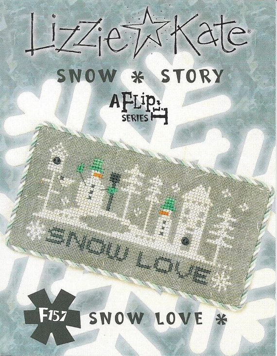 Lizzie Kate Snow Story Flip-It F157 - Snow Love - Snowmen Counted Cross Stitch Pattern with Buttons