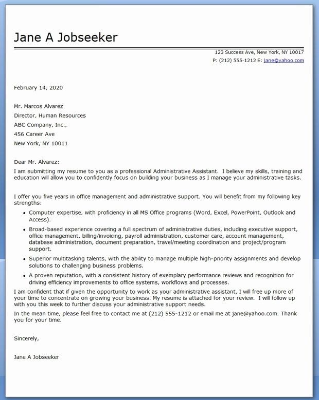 40 Cover Letter For Executive Assistant Admin Assistant Cover Letter
