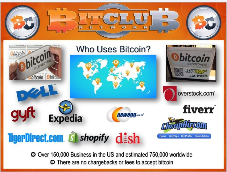 World-class merchants now accept bitcoins for payment, including: Microsoft, Dell, Expedia, Dish, Overstock, TigerDirect, and Intuit.