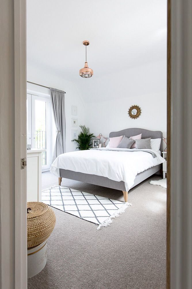 Grey white minimal chic bedroom styling
