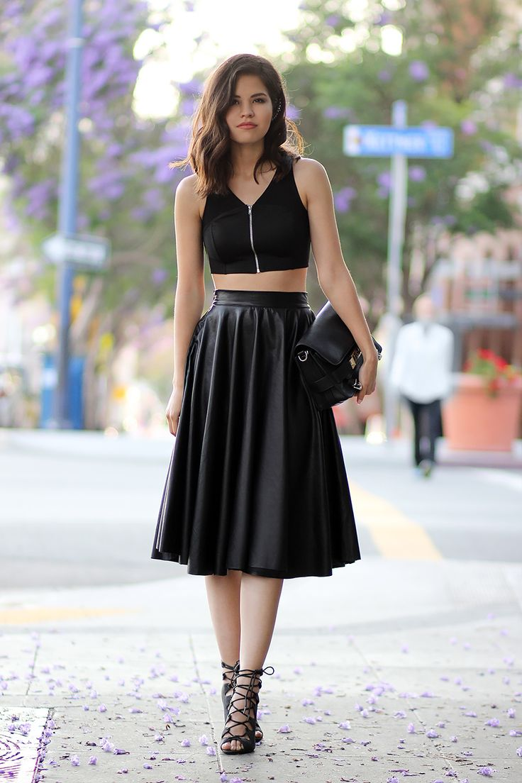 Topshop sport cropped top, Chicwish faux leather midi skirt, Proenza Schouler PS11 Classic, Windsor lace-up sandals,...