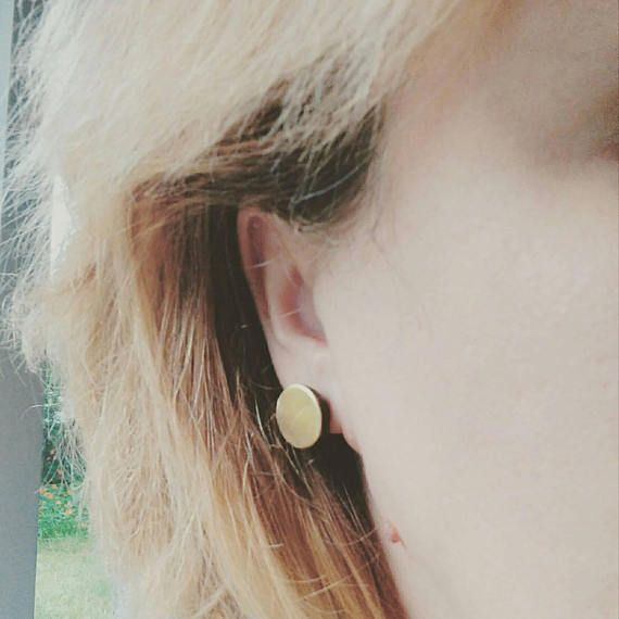 Discs. Oxidized silver earrings with brass discs round circle