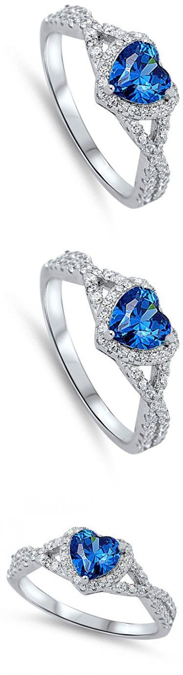 Blue Simulated Sapphire Heart Infinity Knot Promise Ring 925 Sterling Silver Size 8 (RNG15890-8)