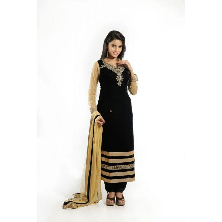 Black Velvet Readymade #Salwar Kameez With Dupatta- $130.25
