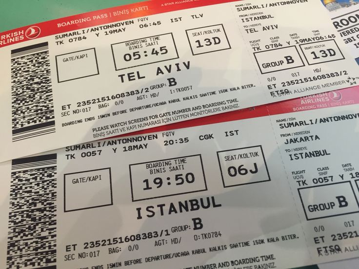 2015 | TK 057 Jakarta Istanbul 18 May - TK 784 Istanbul Tel Aviv 19 May