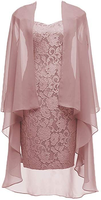 DYS Women's Two Pieces Mother of The Bride Evening Dress with Jacket Sheath …