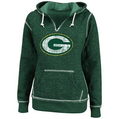 Green Bay Packers Green Women's O.T. TD II Marled Hooded Sweatshirt