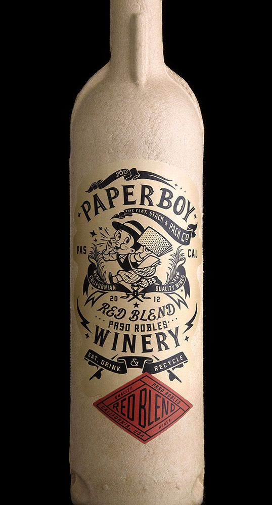 Paperboy is about as green as it's possible to make a wine bottle. It's made out of a compressed recycled paper, printed with natural inks and the inside contains a recyclable sleeve like you find in a box of wine.