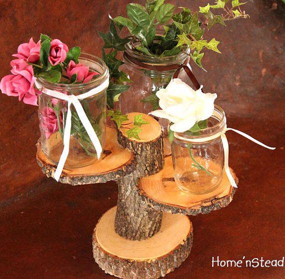 Tiered rustic wedding decor tree mason jar candle