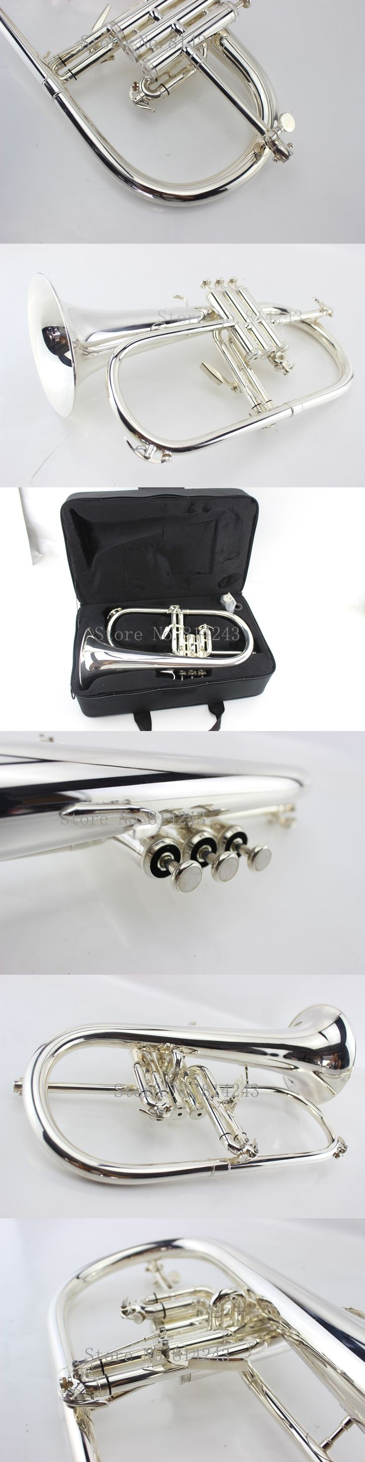 American Bach flugelhorn silver-plated B flat Bb professional trumpet Top musical instruments in Brass trompete horn