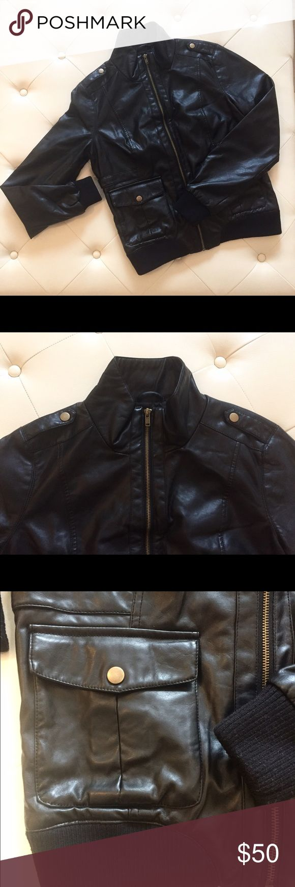 Jack by BB Dakota Leather Jacket NWOT, comes from a pet-free, smoke free home. Runs small (I'm usually a S or M but sized up). Jack by BB Dakota Jackets & Coats Utility Jackets