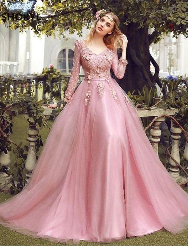 87df24ca3f7db Light Pink Tulle, A-Line Evening Dress With Flower Applique ,Elegant ...