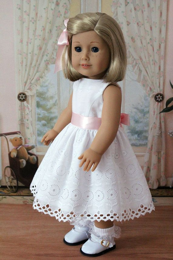 White Eyelet Dress for American Girl Doll; made with a Bunny Bear pattern