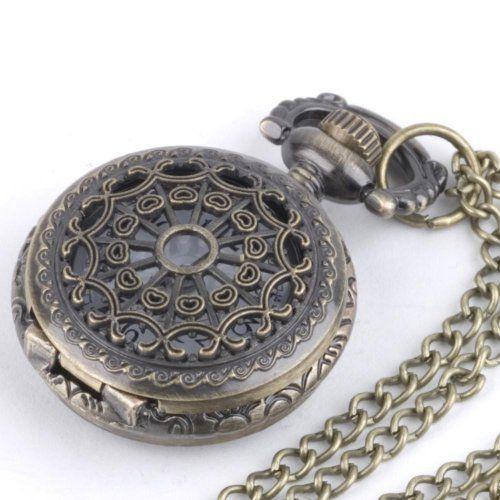 81stgeneration Women's Brass Vintage Style Pocket Watch Chain Pendant Necklace, 78 cm