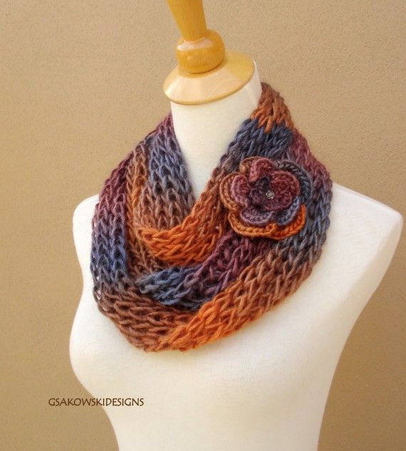 Infinity scarf with detachable flower