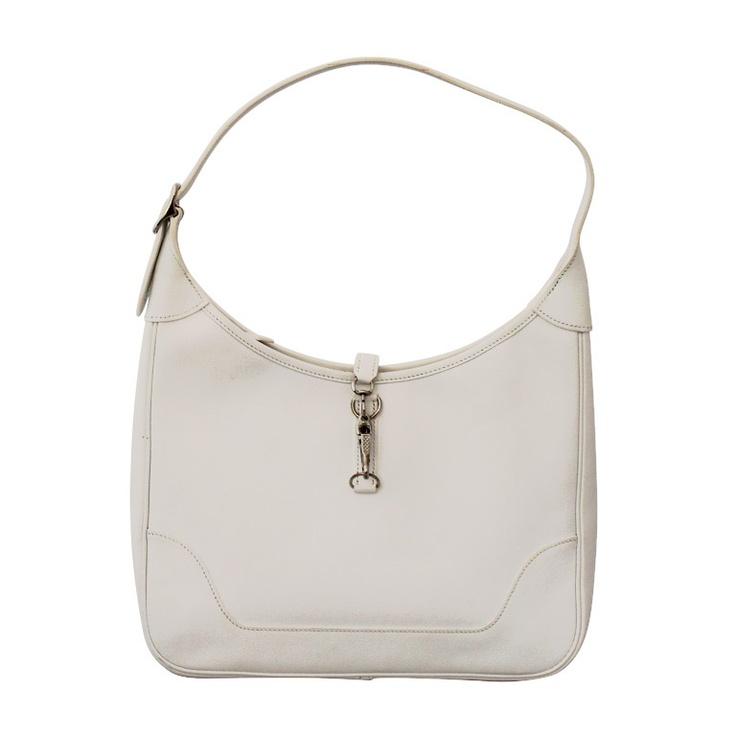 Hermes White Togo 31 cm Trim handbag - SHW - 2006