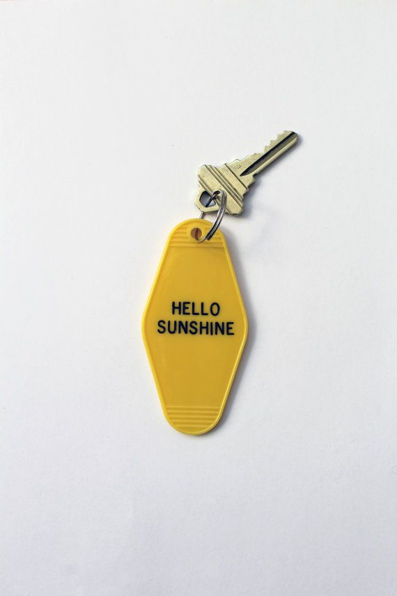 Hello Sunshine Key Tag Hotel Motel Classic by PunchCompany on Etsy